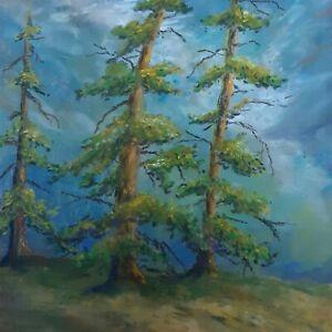 Original Pastel Mountain Pines Landscape Crossley Art Painting Chalk Drawing