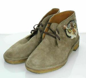 Y38 $830 Men's Sz 11 M Gucci Moreau Embroidered Suede Chukka Boots In Taupe