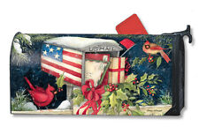 CHRISTMAS CARDS Snowy Patriotic Mailbox MAGNETIC MAILBOX COVER Made in USA