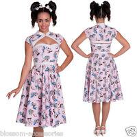 RKP17 Hell Bunny Madeline Pink Retro 50s Rockabilly Dress Pin Up Swing Dance
