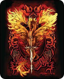 Queen Dragon Red Flame Blade Fantasy Mink Faux Fur Luxury Blanket Plush Soft