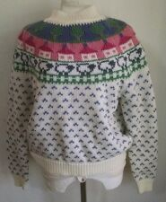 Vtg Northern Isles Sweater L Fair Isle Nordic Pastel Easter Sheep White Pink