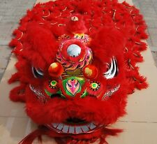 Chinese Red Wool Lion Dance Mascot Costume Folk Art Southern For Two Adults Gift