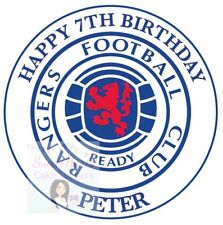 RANGERS FC CAKE TOPPER ROUND PERSONALISED EDIBLE PRINTED ICING FOOTBALL CLUB