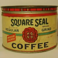Vintage 1930s SQUARE SEAL COFFEE TIN ONE POUND HENRY SEARS HOLYOKE MASSACHUSETTS