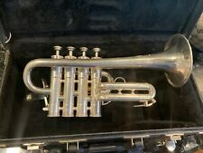 SELMER France 703 4 Valve Piccolo Silver Trumpet with case excellent shape.