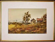 Listed American Artist Rolandas Vilkauskas Watercolor' House In The Field'