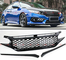 FOR 2016-18 HONDA CIVIC 10TH GEN ABS 3PC JDM 3D MESH BADGELESS FRONT HOOD GRILLE
