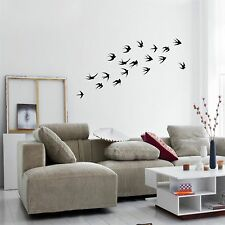 FLYING SWALLOWS Flock of Birds Silhouette set 18 Wall Art Quality New Stickers.