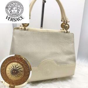 Genuine Gianni Versace Bag Sunburst Handbag White Embossed Leather