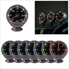 1x 74mm Car Turbo Boost Gauge Turbocharger Meter 7-Colors LED w/Sensor 1-2.5 Bar