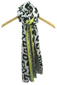 UK Black Grey Yellow Stripes Leopard Print Scarf Cotton Soft Christmas Gift