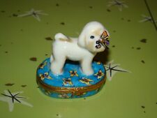 Artoria Limoges France Trinket Box 499/2500 Peint Main Bichon Frise Dog