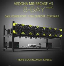 Veddha 8 GPU Miner Case Aluminum Open Air Stackable Mining Rig Frame BTC ETH LTC