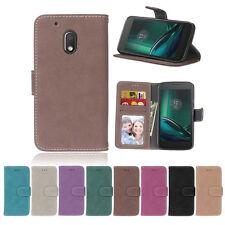 Matte Photo 3 Slots Wallet Leather Flip Case Cover For Motorola G6 G5S Plus G4 M