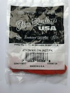 Jim Dunlop Médiators Pack de 24 Rouge Nylon Jazz II 1.18 mm 47R2N Rouge.