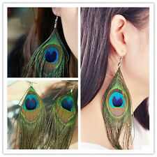 Hot Sell Fashion Cute Lady Peacock Feather Earrings Dangle Style Studs Earrings