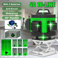 4d Laser Level 16 Lines Green Light Auto Self Leveling 360 Rotary Cross Measure