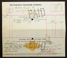 US Check Old Dominion Steamship NY Documentary Paid Stamp 1901 USA Scheck H-8177