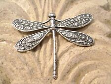 1722 Antiqued Sterling Silver ptd Brass Dragonfly Pendant Centerpiece Component.