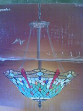 NIB Classy Large Tiffany Glass with Dragonfly Design PENDANT Ceiling LIGHT