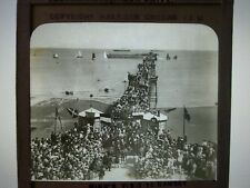Antique Magic Lantern Slide Isle of Man 1902 Ramsey pier Royal Visit King Edward