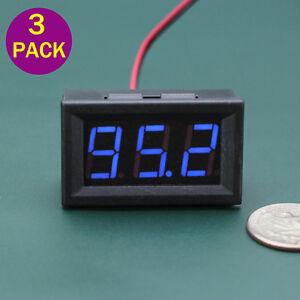 3PCS DC 5-120V Mini Voltmeter Blue LED Panel 2-wire Volt Meter 3-Digital Display