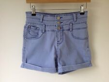 NEW LOOK 8 BLUE HIGH WAISTED STRETCH SHORTS HOT PANTS FESTIVAL HOLIDAY BOHO LOOK