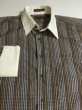 Henri Picard Mens Plaid Long Sleeve Button Shirt Cuff French Size 16.5 36/37