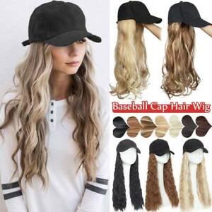 "290g Baseball Cap Hat with Hair Ombre Long Wavy Hair Fake 18"" Wigs Ball Cap Hat"