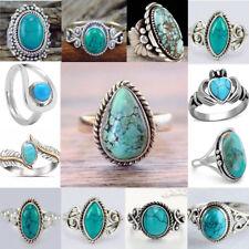 Women Men 925 Tibetan Silver Filled Natural Turquoise Wedding Ring Jewelry Mum