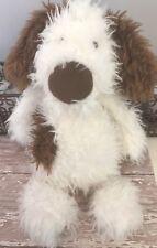 """Jellycat Plush 13"""" Poppy Puppy Dog White Brown Floppy Stuffed Toy Animal 2012"""