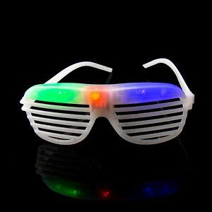 2 White Flashing LED Shutter Glasses Light Up Rave Slotted Party Glow Shades UK
