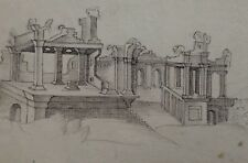 18th c. PALLADIO style OLD MASTER DRAWING 'Architectural study' - WATERMARK