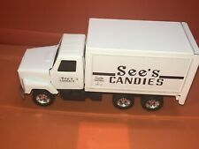 "VTG ERTL See's Candies White Die-Cast Metal Delivery Truck Model 1987 10"""