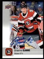 2019-20 UD CHL Autographs Parallel Auto #31 Graeme Clarke - Ottawa 67's