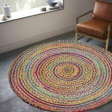 Natural Rug Jute & Cotton Handmade 8x8 Feet Round Decor Living Rug Reversible