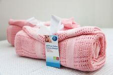 100x120cm First Steps 100% Pure Soft Cotton Cellular Baby Blanket in PINK girl