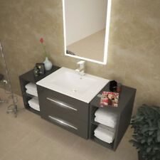 Bathroom Wall Hung Sonix 1170mm Grey Vanity Unit with Double Sink and Storage