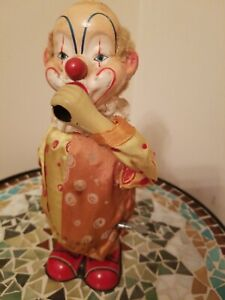 Vintage Made In Japan Tin Clown Wind Up Key Toy Air Blowing Bouncing Moving Rare