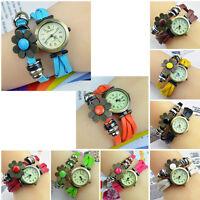 New Quartz Fashion Weave WRAP Around Leather Bracelet Lady Woman Wrist Watch
