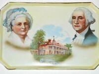 RARE Antique George Martha Washington Raised Hand painted Platter Signed