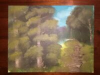 Original Hand Done Artwork Signed Forest Landscape Painting Art Bob Ross Style