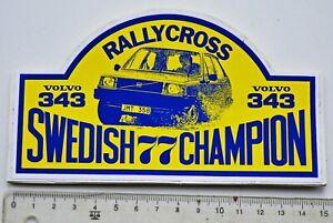 Volvo 343 rallycross Swedish 77 Champion Original Vintage Self Sticker