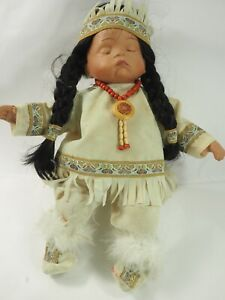 """Swan Collection Porcelain Indian sleeping Baby Doll 13"""""""