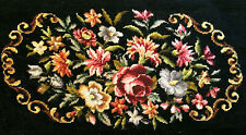 """True Vintage Bucilla Needlepoint Bench Cover """"Beautiful Floral"""" 35 X 13 1/2"""""""
