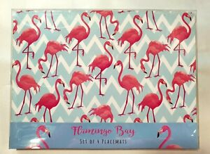 Set 4 Pink Flamingo Bay Placemats Tablemats Homedeco Gift
