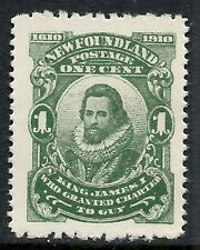 NEWFOUNDLAND SCOTT 87b MNH VF - 1910 1c DEEP GREEN ISSUE (L)  CAT $7.50