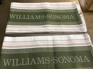 Williams Sonoma Kitchen Dishtowels Set of 2 Cotton White/Green /Tan Logo New