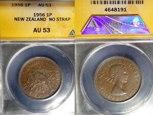 New Zealand 1956 Penny, Rare No Should Strap Variety, ANACS 53 High Value